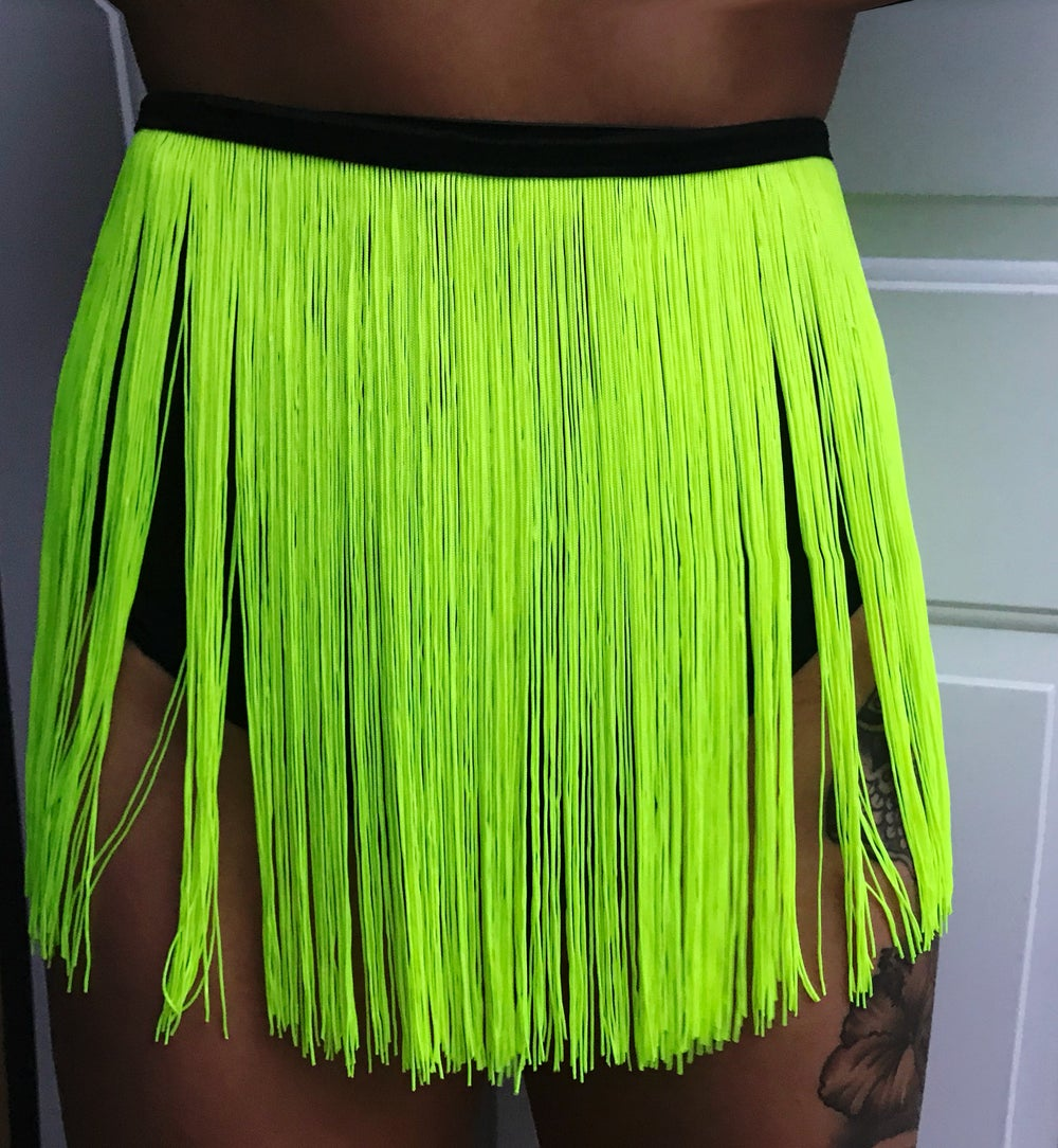 BETTY SPAGHETTI NEON LIME YELLOW TASSLE SKIRT