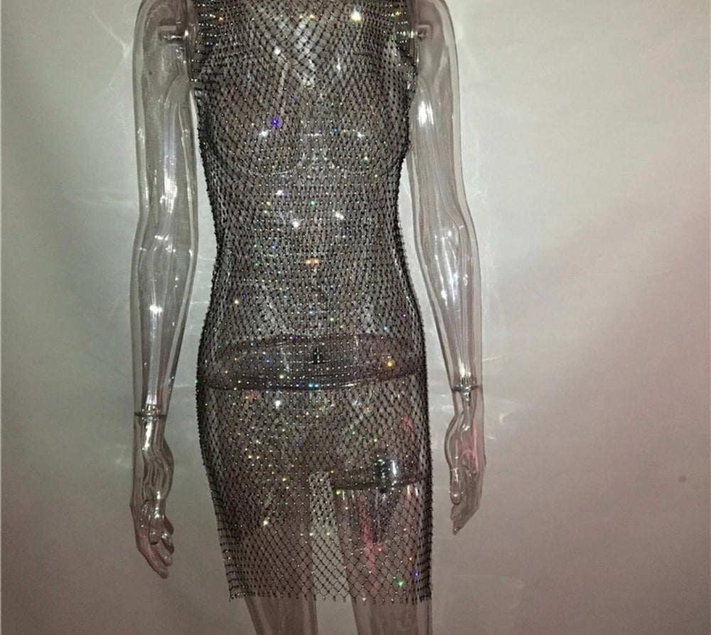Image of Diamanté Sleeveless Dress