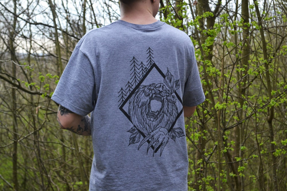 Image of Alex Faulkner x Outta This Town Wild Bear T-shirt Graphite Heather Grey