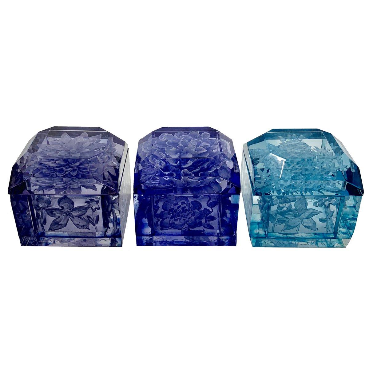 Image of Mini Lucite Boxes (Blue Tones)
