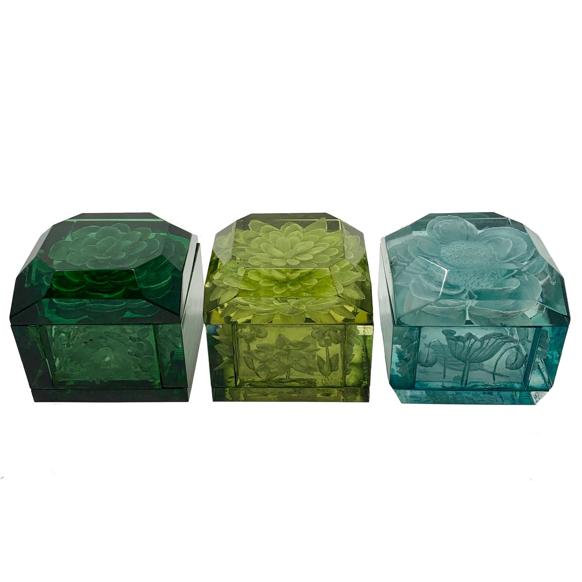 Image of Mini Lucite Boxes (Green Tones)