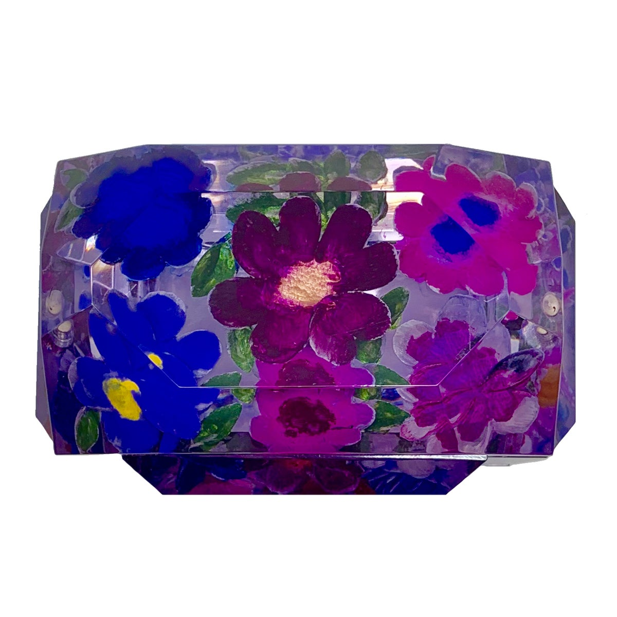 Image of Hand-Carved Hand-Painted Mini Victorian Lucite Box