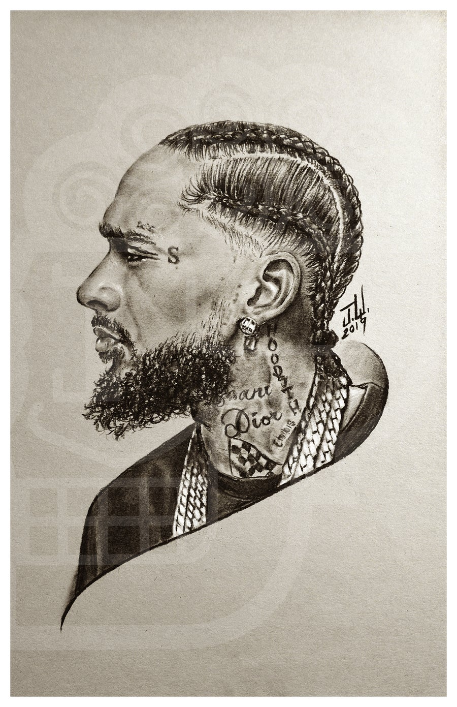 Image of Nipsey Hussle Ermias Asghedom rip art artwork legend hiphop rapper the marathon continues dedication