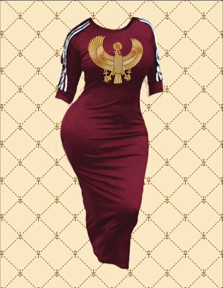 Image of NASIRAH SAHAR COLLECTION™ GOLD HRU SPORTS STRIPE BODYCON DRESS