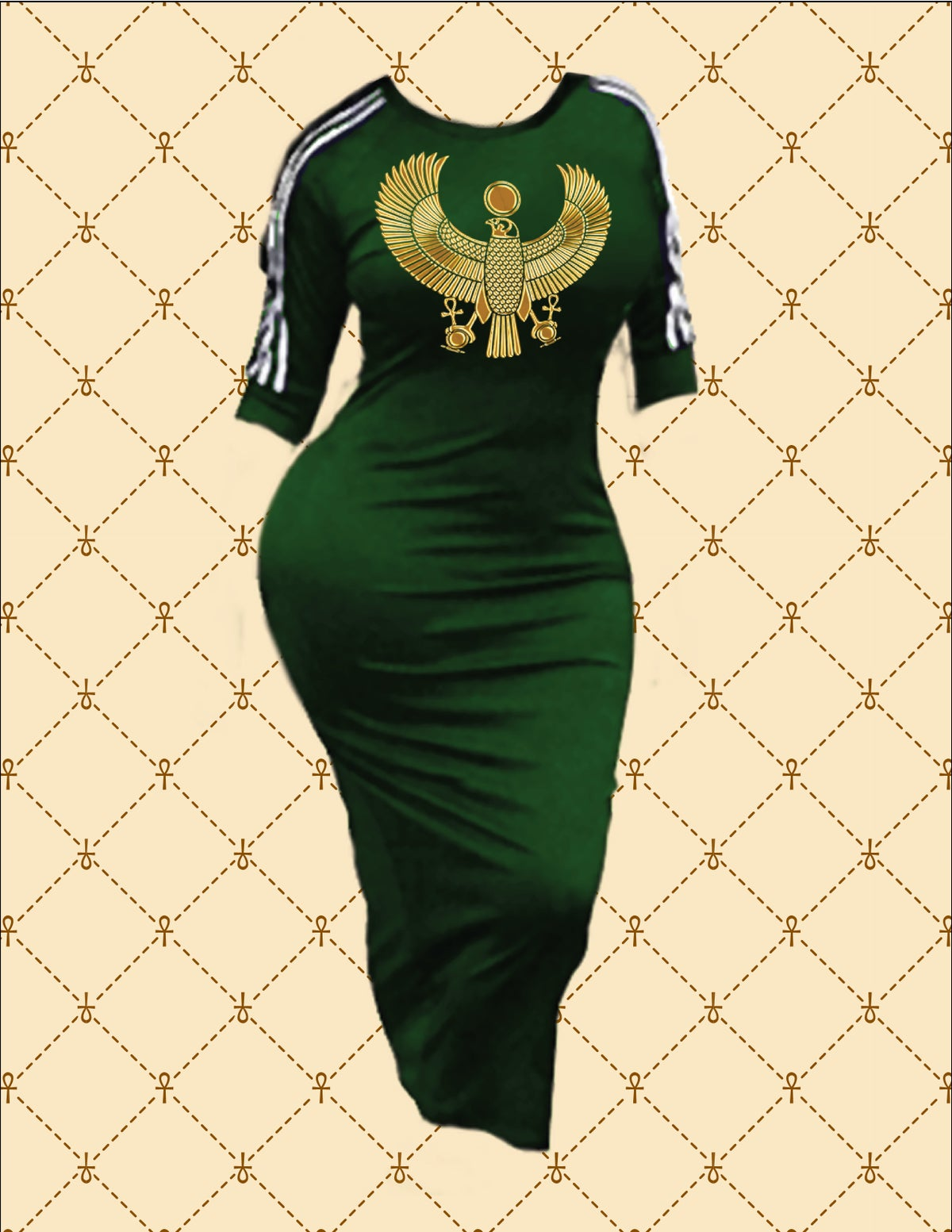 Image of NASIRAH SAHAR COLLECTION™ GOLD HRU SPORTS STRIPE BODYCON DRESS