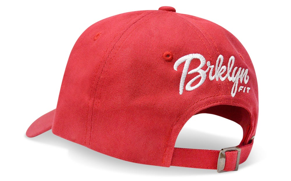 Image of BRKLYN FIT® ANKH CHESS PIECE (RED) - DAD HAT