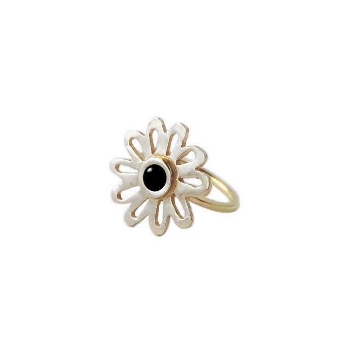 Image of Flower Ring with Black Onyx