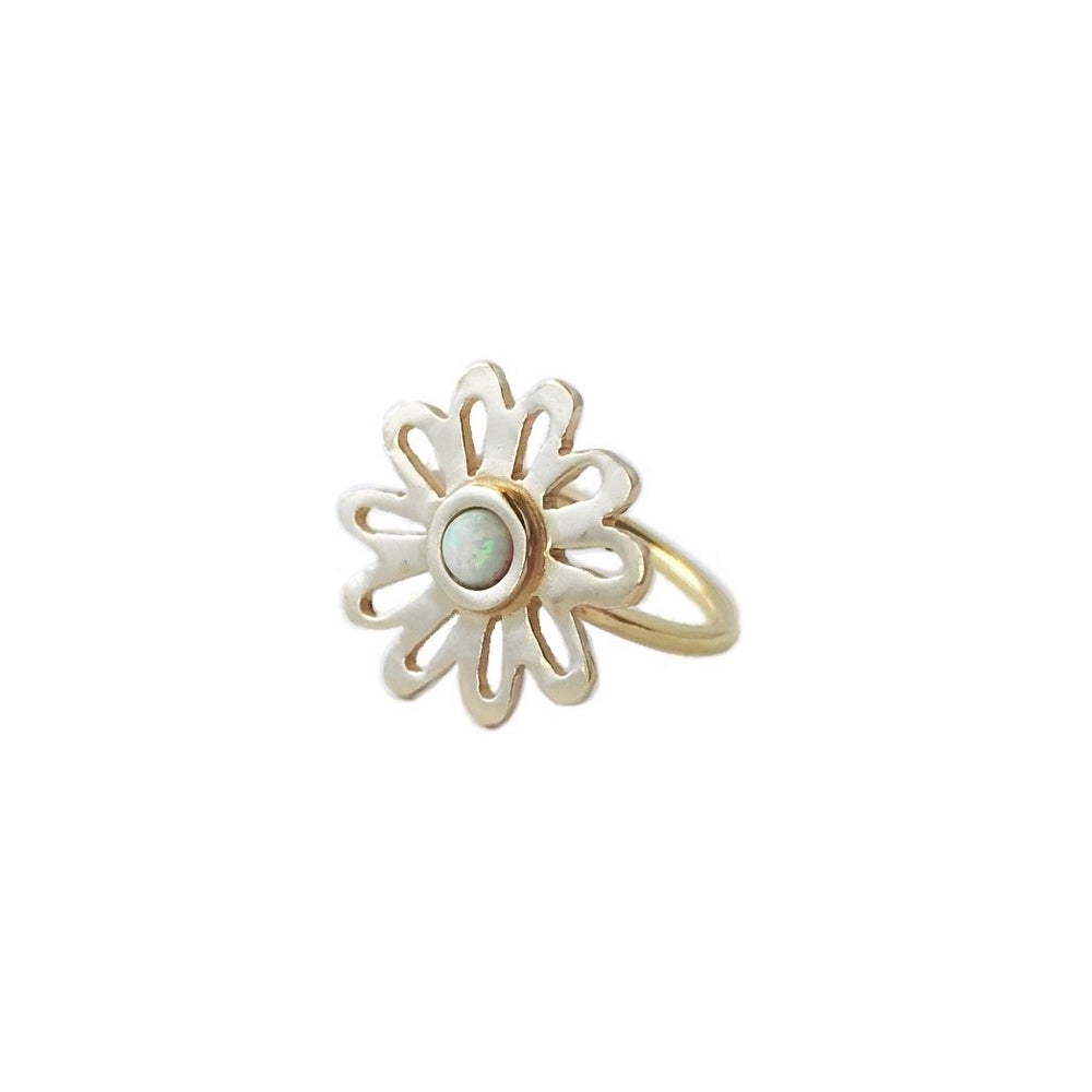 Image of Flower Ring with Opal