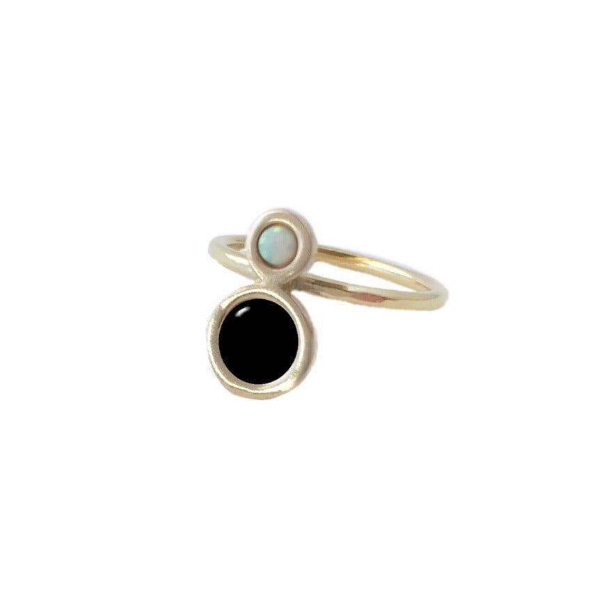 Image of Mini Orbit Ring with Black Onyx