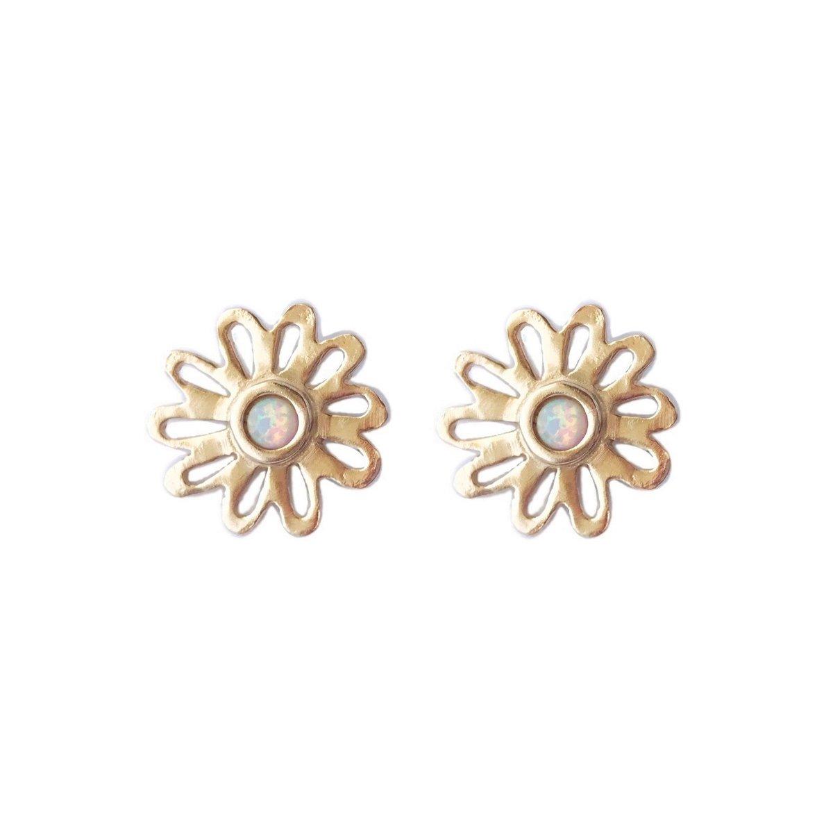 Flower Earrings With Opal