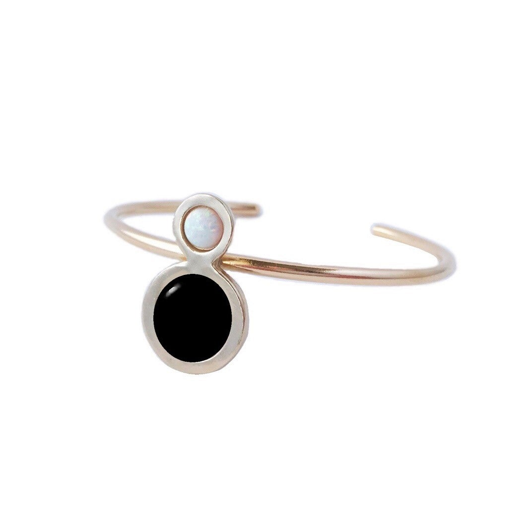 Image of Orbit Cuff Bracelet with Large Black Onyx