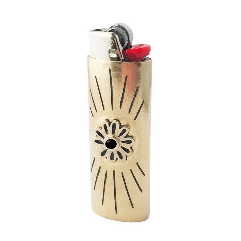 Image of Flower Lighter Case with Black Onyx