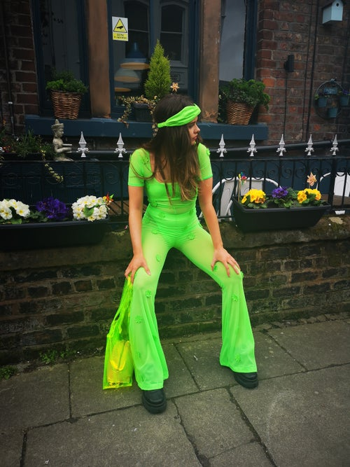 Image of SALE PRICE! Daisy Neon Mesh Jumpsuit
