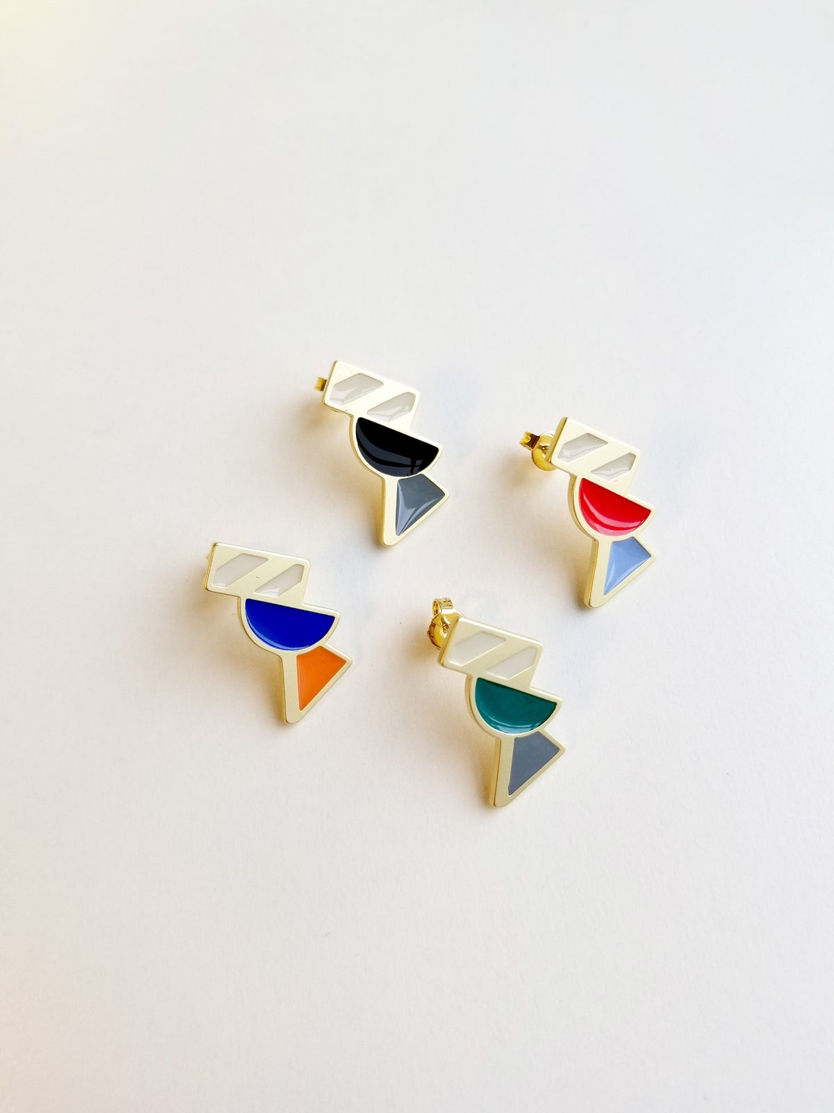Image of Tilt Earrings • Stainless steel • Silver • Orange/Blue