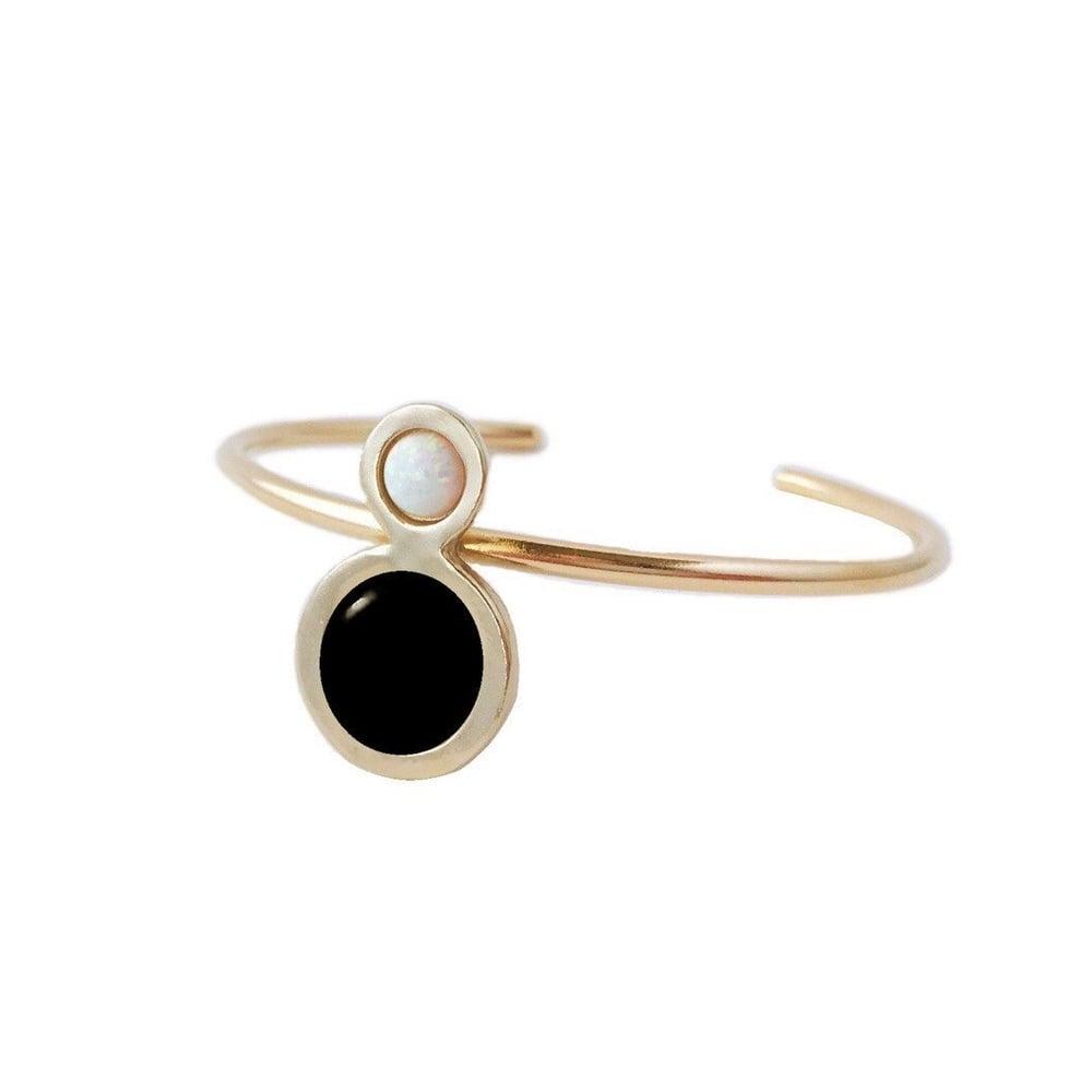 Image of Orbit Cuff Bracelet with Large Black Onyx