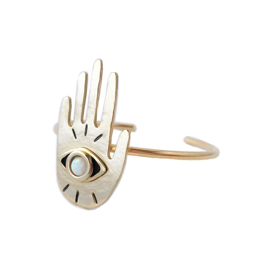 Image of Hand Eye Cuff Bracelet with Opal
