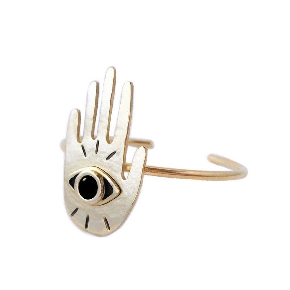 Image of Hand Eye Cuff Bracelet with Black Onyx