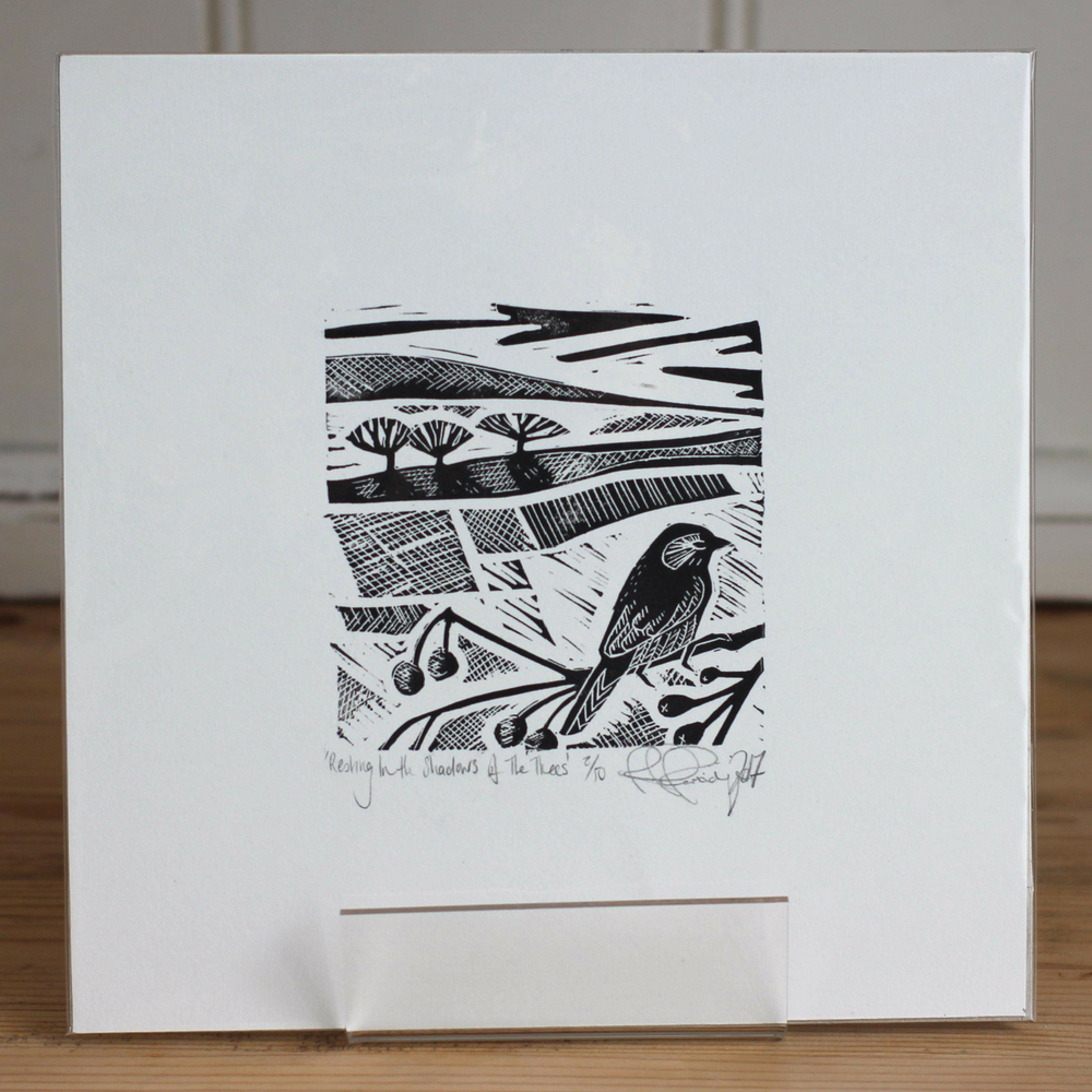 Image of Resting in the shadow of the trees limited edition monochrome linocut