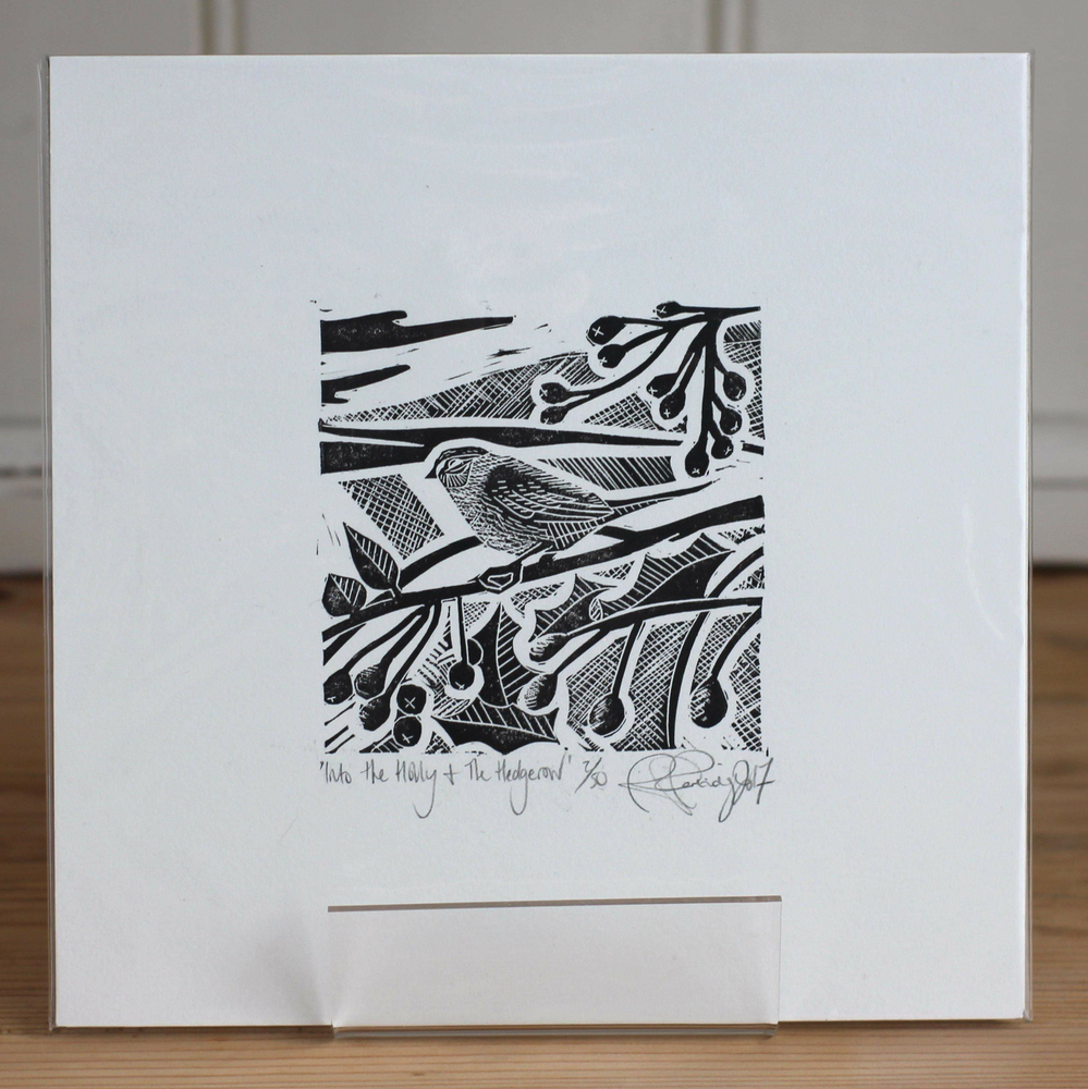 Image of Into the holly and the hedgerow limited edition monochrome linocut