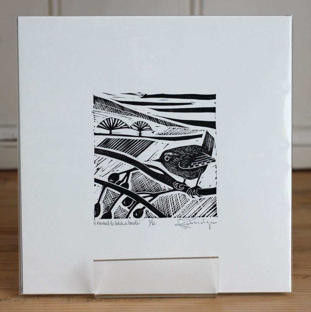 Image of A moment to catch a breath limited edition monochrome linocut
