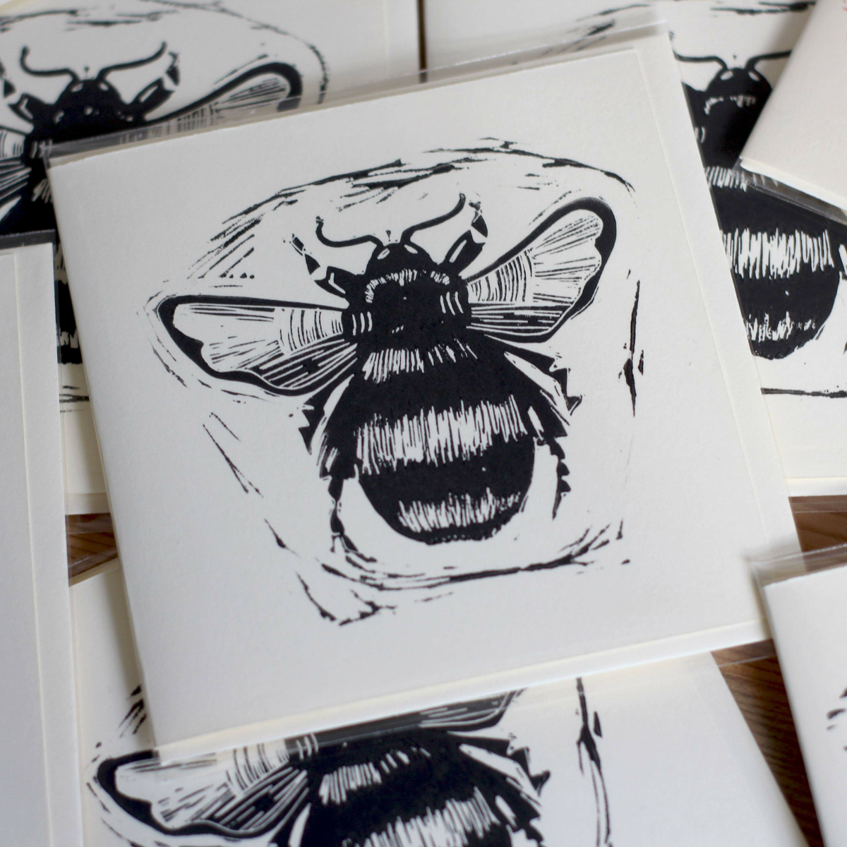 Image of Bumblebee 4x4 inch card. £1 from each purchase will go to: Bumblebee conservation trust.