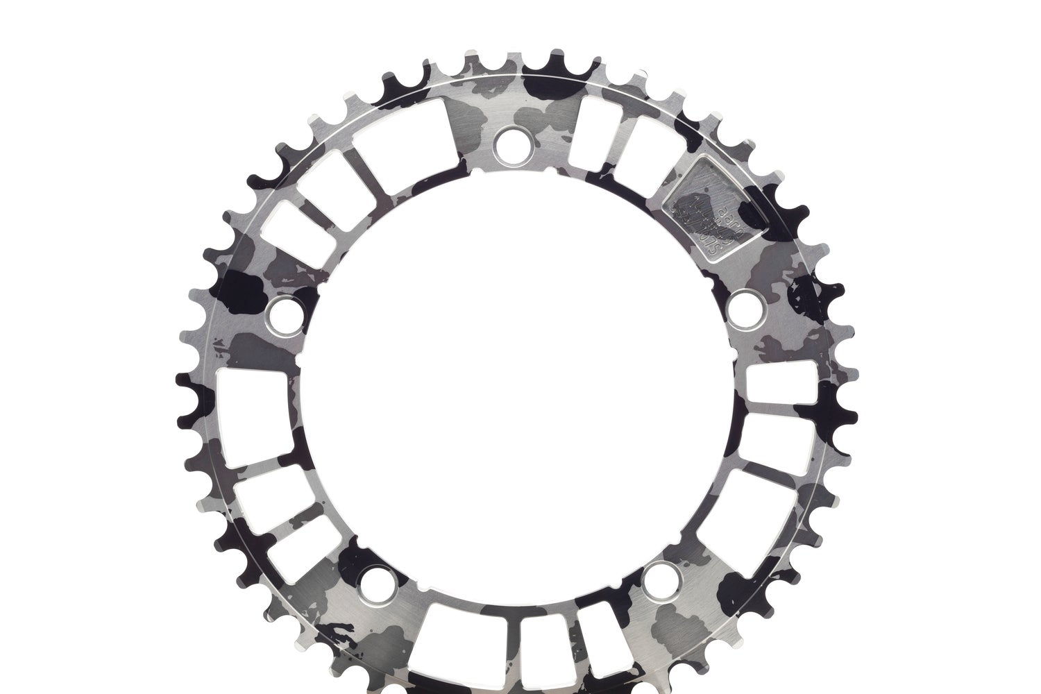 Image of aarn 144#47/49/51/53 B&W Camo Track Chainring (144BCD//47/49/51/53-Tooth)