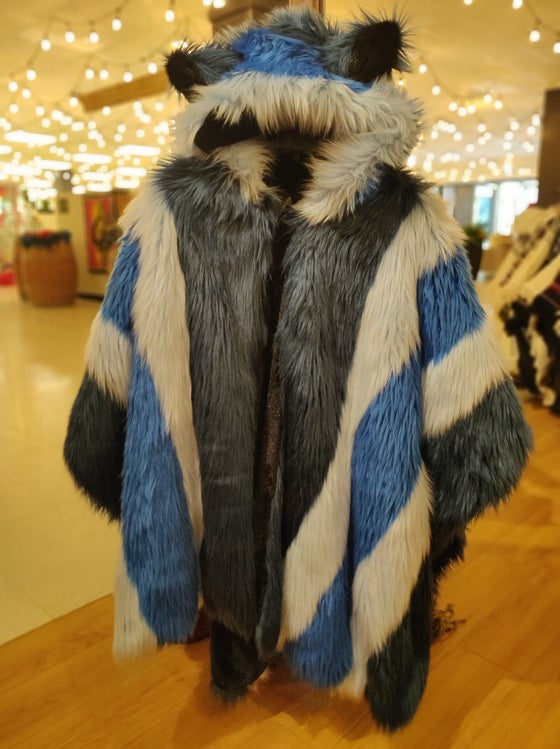 Image of Fun Fur Poncho: Ocean Blues