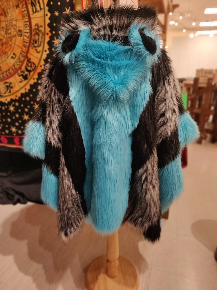 Image of Fun Fur Poncho: Blue Husky