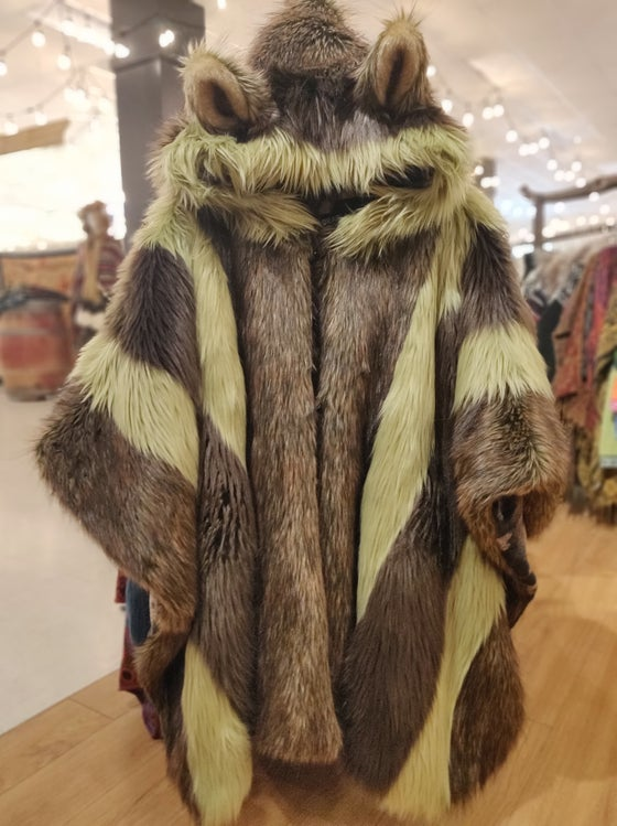 Image of Fun Fur Poncho: Green Bear