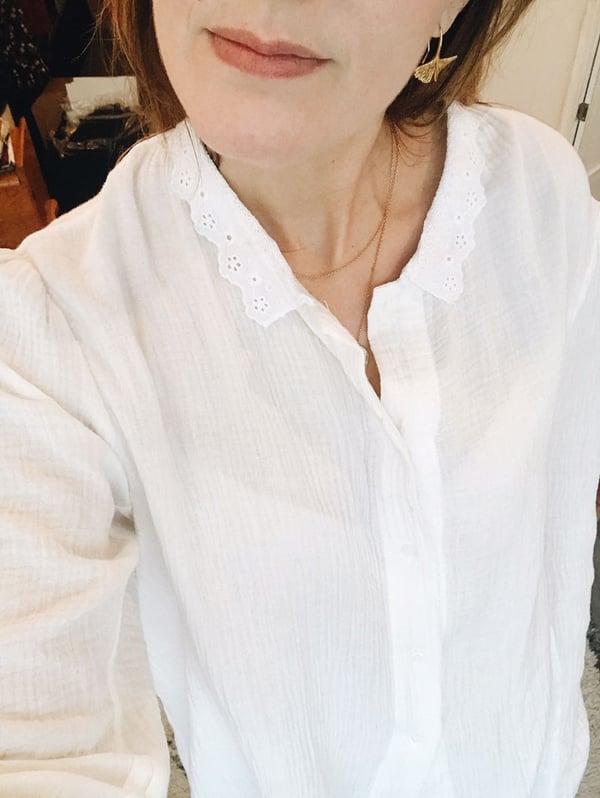 Chemise Flora gaze blanche - Maison Brunet Paris