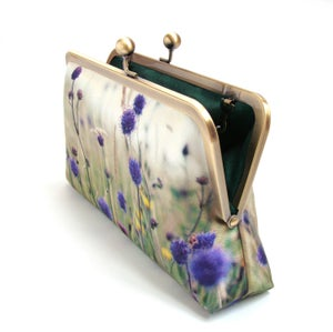 Image of Purple wildflower clutch bag, printed silk purse with chain handle