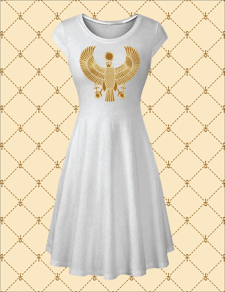 Image of NSC Gold HRU A Line Short Cap Sleeve Round Neck Dress