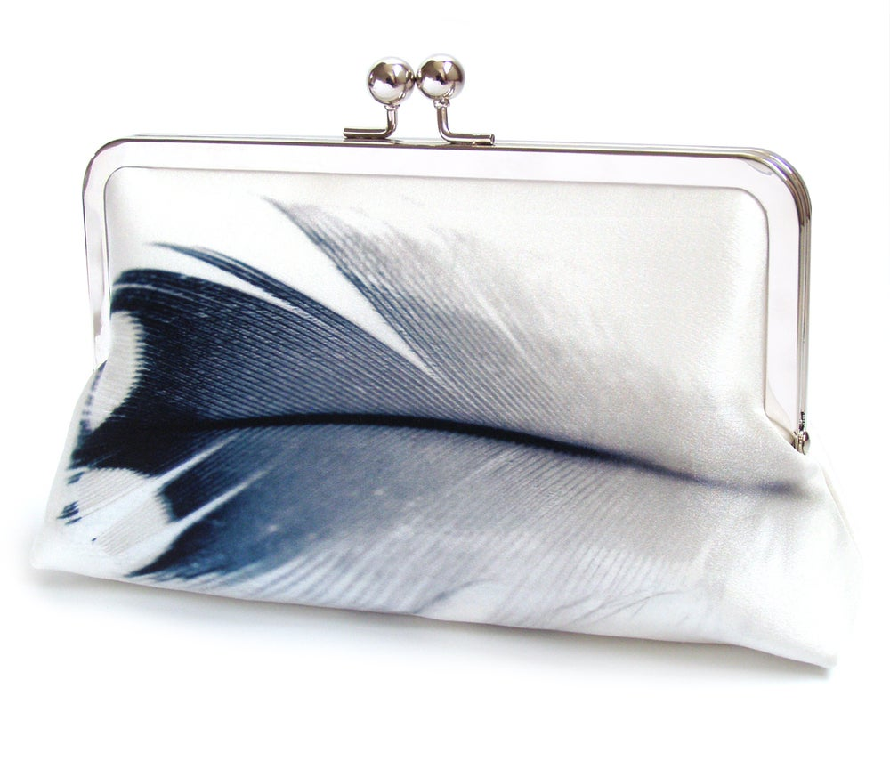 Image of Blue and white feather clutch bag