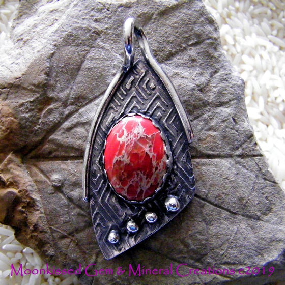 Image of Jazzy Red Jasper Fine Silver Pedant