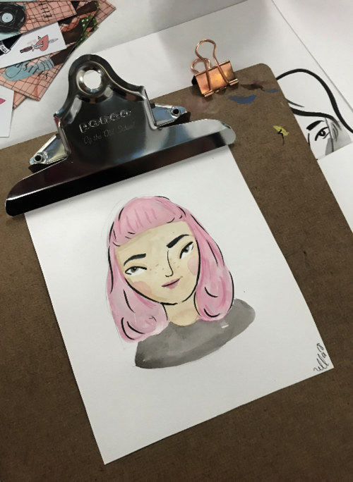 Image of single mini watercolour portraits