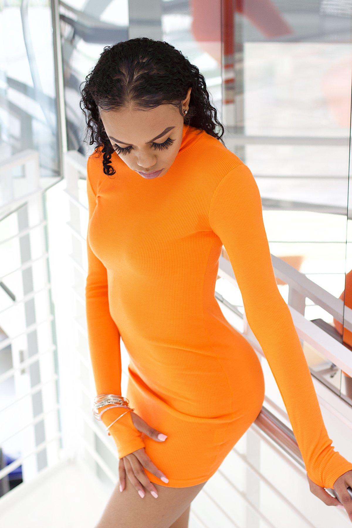 Image of Brighten My Day Orange Mini Dress