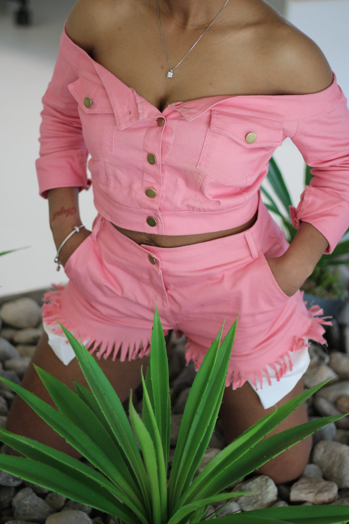 Image of Light Pink Two Piece Short Set