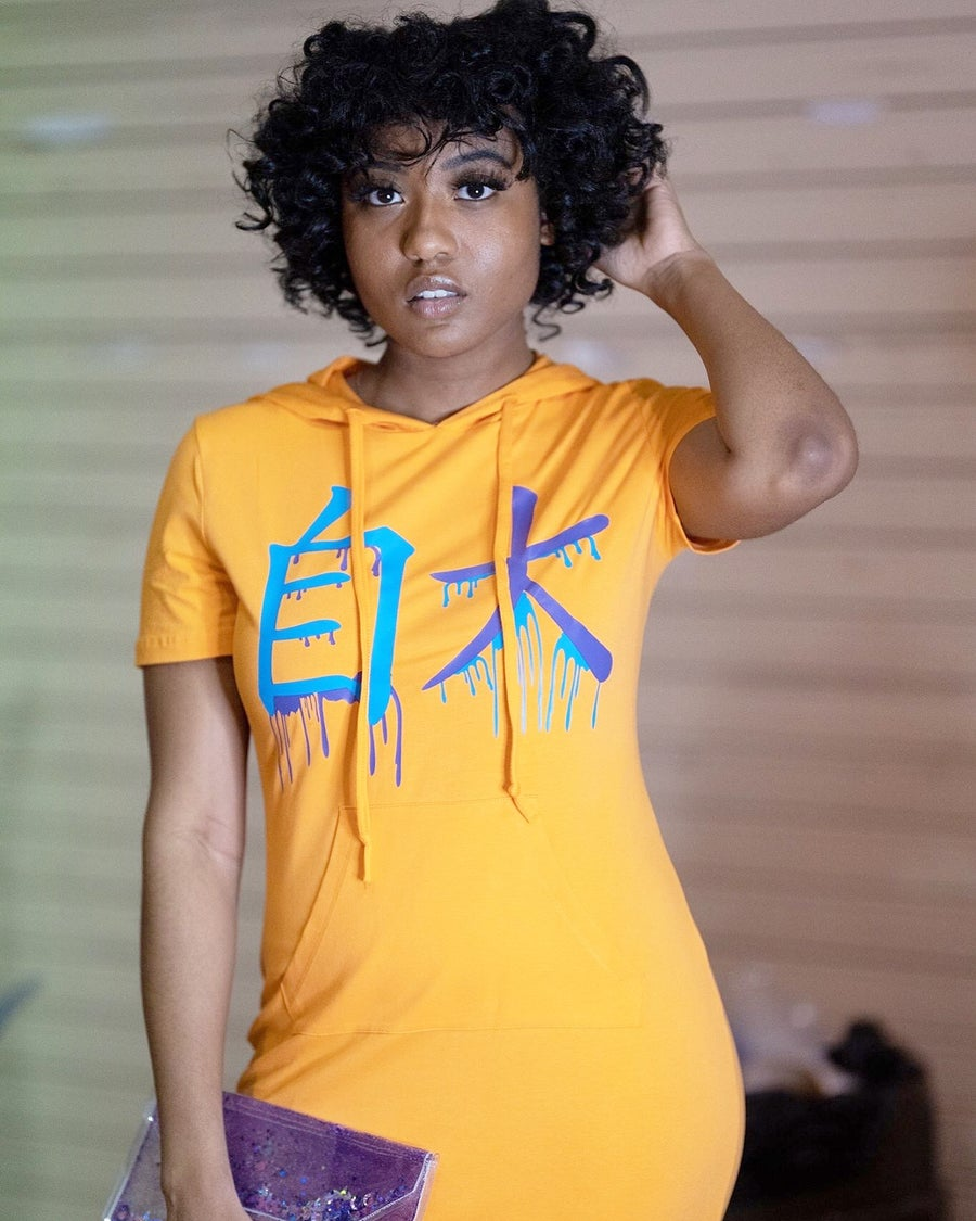 Image of Orange Hooded Konceited Drip T-Shirt Dress