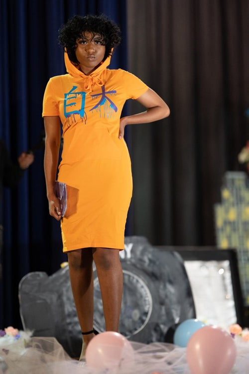 Image of Orange Hooded Konceited Drip T-Shirt Dress