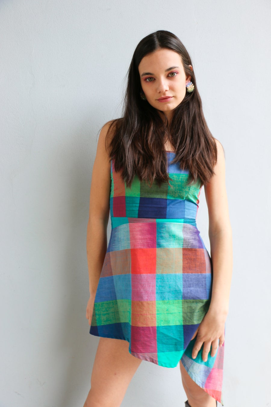Image of Quadretti assymetric dress
