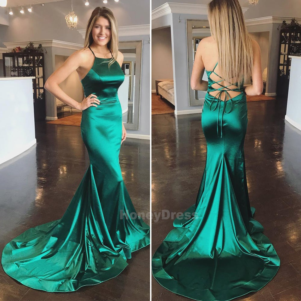 Image of Green Satin Mermaid Halter Long Train Evening Gown, Long Prom Dress With Lace-Up Open Back