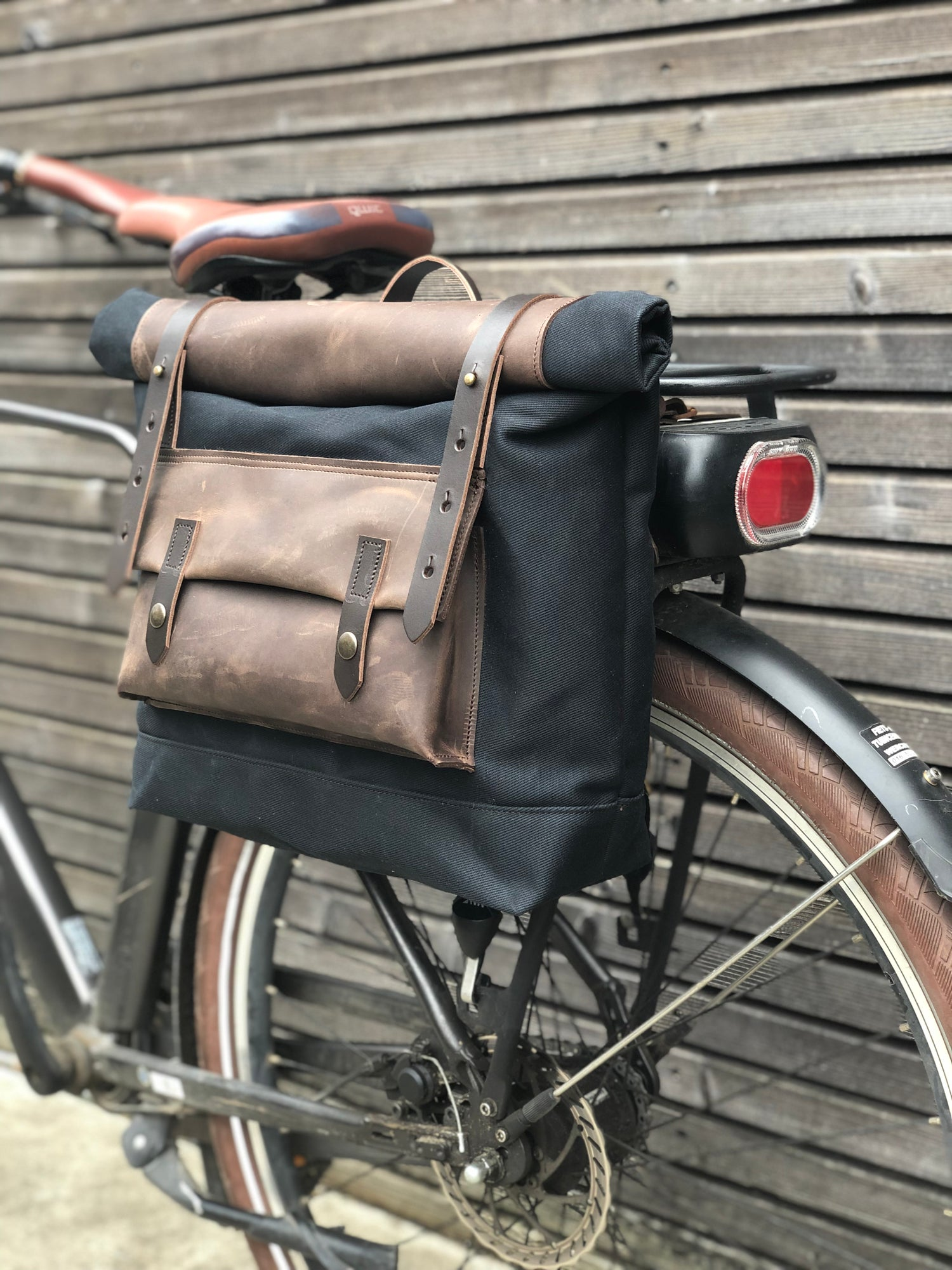 Image of Saddle bag in waxed canvas leather Motorbike bag Motorcycle bag Bicycle bag in waxed canvas and leat