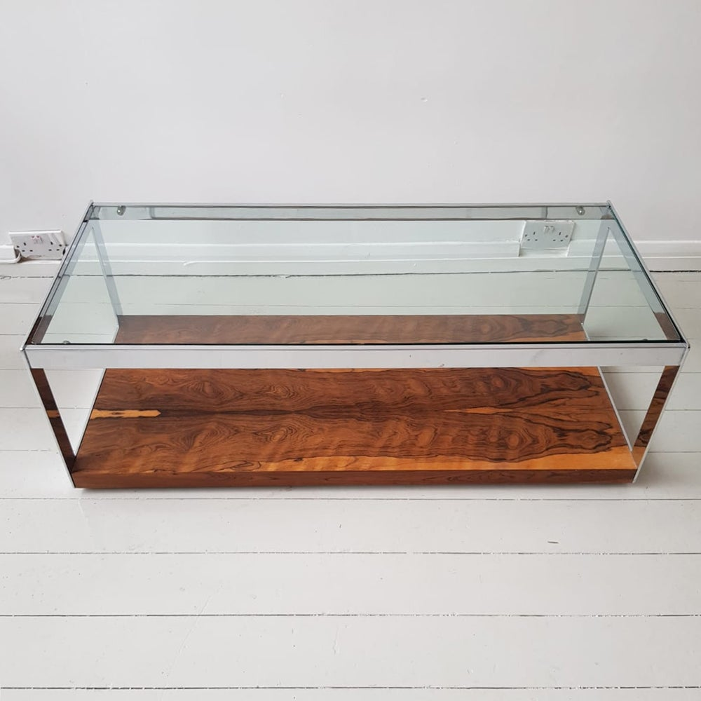 Image of Merrow Associate chrome and Rosewood coffee table