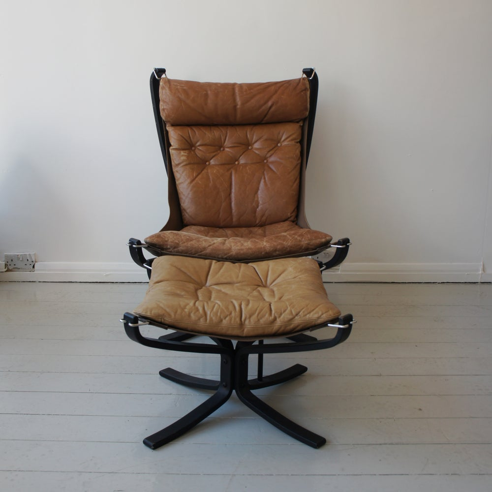 Image of Falcon Chair and Ottoman by Sigurd Ressel for Vatne Møbler