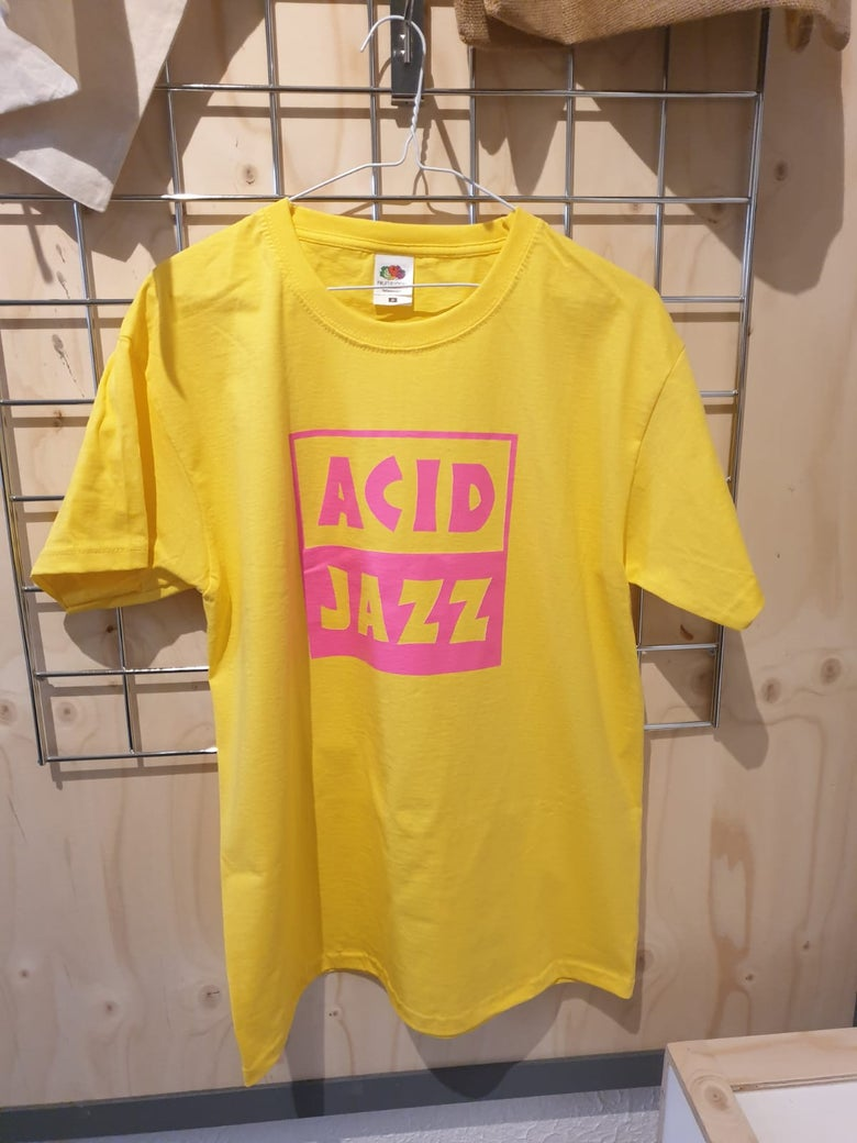 Image of Acid Jazz Logo Shirt (Pink and Yellow)