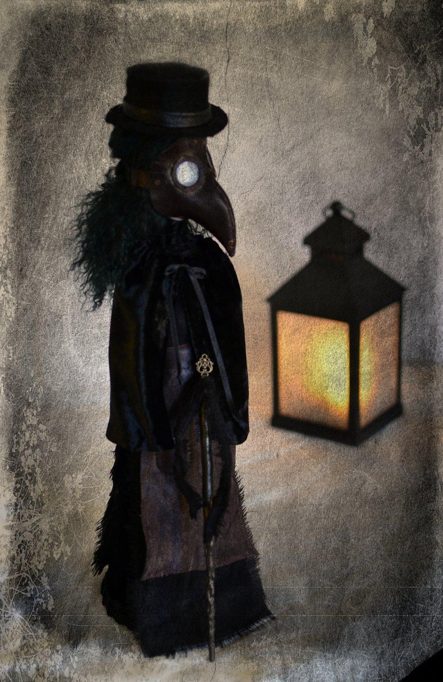 Image of *RESERVED* 2/2 Memento Mori: Litaneía ad Mortem. OOAK handmade dark art doll. The plague doctor.
