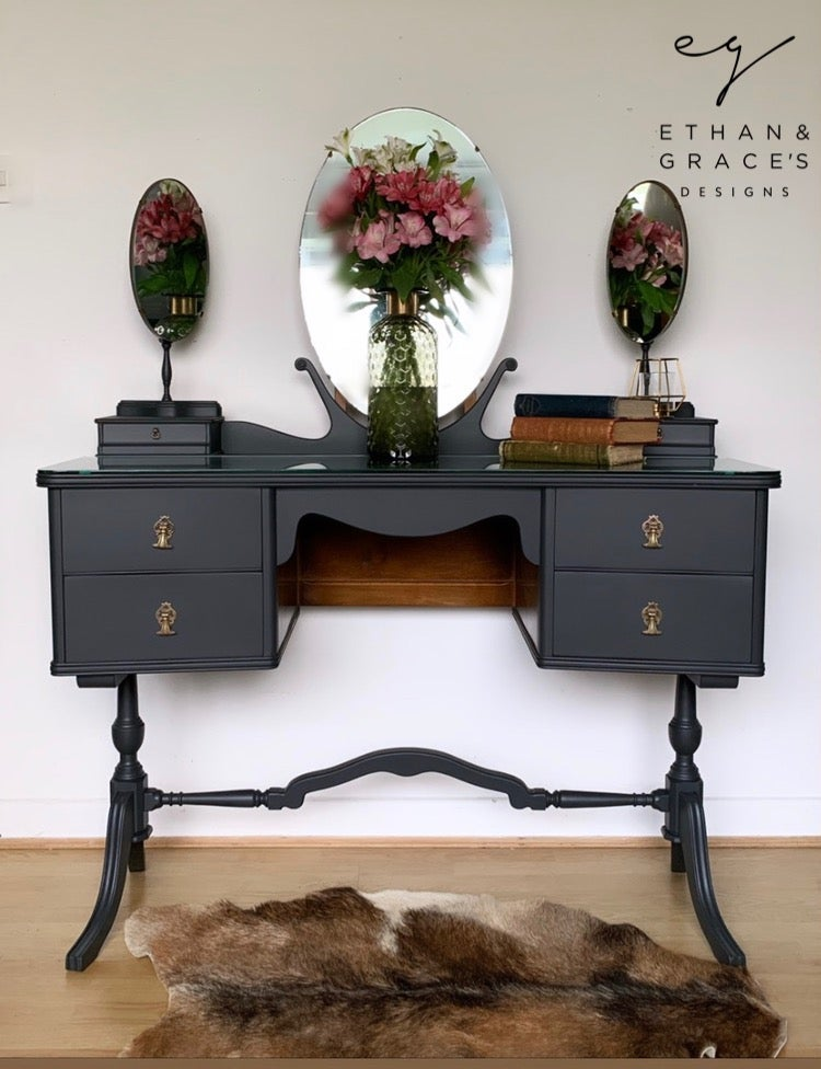 Image of Dark grey vintage dressing table dark grey