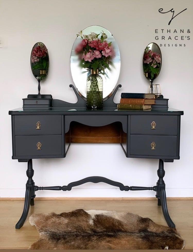 Image of Dark grey vintage dressing table dark grey