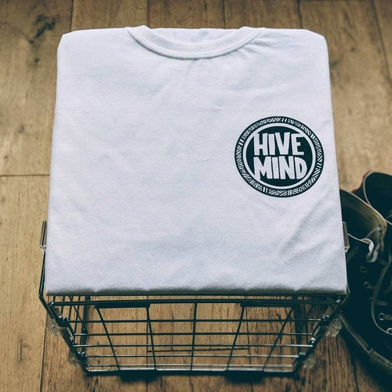 Image of HiveMind logo white T-shirt