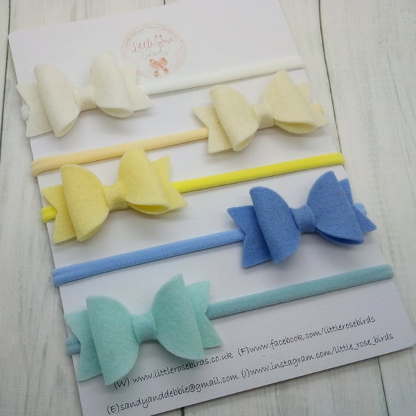 Image of SET OF 5 Spring Bows Headbands or Clips